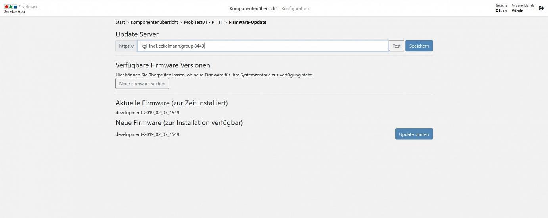Web-Schnittstelle des Virtus 5 mit Online-Update für die Firmware