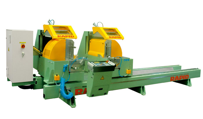 Double mitre saw for precise profile cutting