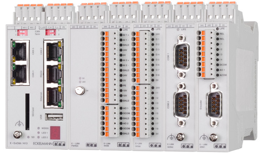 E°EXC 66 standard control with connected E°LBM I/O modules and functional modules