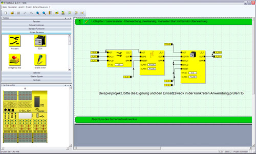 E°Tools SLC for the convenient development of safety logic systems via drag & drop. The example shows a light barrier / laser scanner monitoring.
