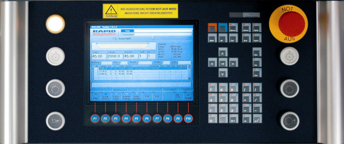 Operator control panel for double mitre saw