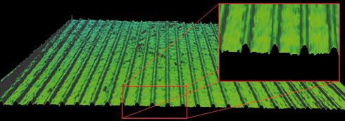 3D-Darstellung einer strukturierten Oberfläche