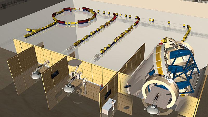 The illustration impressively shows the beam guidance and the three treatment rooms in the Heidelberg Ion Beam Therapy Center HIT. (Source: Heidelberg University Hospital)